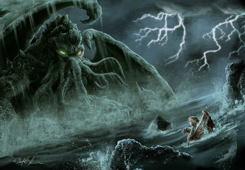 Illustration of Lord OOM – looking much like Cthulhu – rising from the deep, while our program – looking much like a small elf in a boat – looks on in horror.